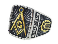 Freemason Stainless Steel and Gold Plated Signet Ring with center design and gold etched symbols. Masonic Rings for Masons