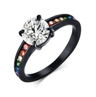 Dreamy Black Main Gem Rainbow Ring - Lesbian Ring Pride Engagement Wedding Ring