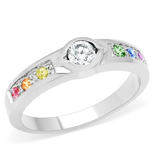 Unique Backset Stone Rainbow Gem Ring - LGBT Steel Lesbian Pride Engagement Wedding Ring