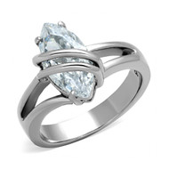 Steel Entangle Wire - CZ Stone Ring - Stainless Steel Engagement Ring / Wedding Band for Women