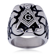 Steel Rocky Face Freemason Ring / Masonic Ring - Enamel & Stainless Steel Band for a Mason