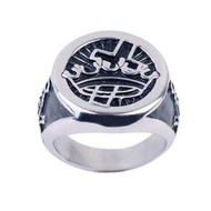 Mason Knights of Templar Cross and Crown Freemason Ring / Masonic Ring - Enamel & Stainless Steel Band