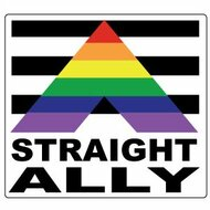 Straight Ally Square Rainbow Sticker (3.5 x 3.5) - Gay Pride Supporter - LGBT Pride Car Bumper Decal