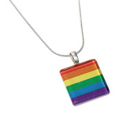 Square Rainbow Flag Pride Glass Pendant with Chain. GLBT Pride Jewelry and Accessories.
