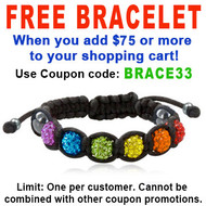 FREE with $75 or more! Coupon Code: BRACE33 - Get (1) Beaded Rainbow Adjustable Black Wristlet - Gay and Lesbian LGBT Pride Bracelet