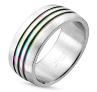 Triple Line Anodized Rainbow Ring - Gay & Lesbian Pride Stainless Steel Promise or Wedding Ring Band