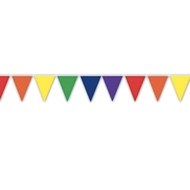 12' Foot Rainbow Gay Pride Flag (Various Color Solid Triangles) Party Banner - LGBT Gay and Lesbian Pride Party Supplies