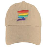 Tan Baseball Cap with Gay Rainbow Squiggle - LGBT Gay and Lesbian Pride Hat. LGBT Gay and Lesbian Pride Clothing & Apparel