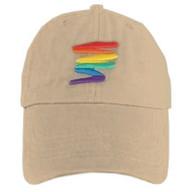 Tan Baseball Cap with Gay Rainbow Squiggle - LGBT Gay and Lesbian Pride Hat. LGBT Gay and Lesbian Pride Clothing & Apparel