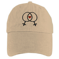 Tan Baseball Cap with Double Venus Lesbian Female Symbols and Mini Heart - LGBT Lesbian Pride Hat. Lesbian Pride Clothing & Apparel