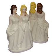 Two Brides in Gowns Lesbian Marriage Wedding Cake Topper - (Can be Custom Painted) - Lesbian Wedding Merchandise Pride Products