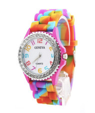 Gay Pride Wrist Watch with CZ Stones and Rainbow Flag Band - LGBT Gay and Lesbian Pride Accessories