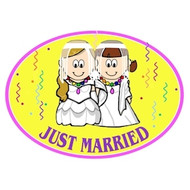 Lesbian Brides - Yellow Just Married Magnet - LGBT Lesbian Pride Car Decal