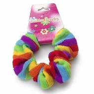 Rainbow Fluffy Hair Scrunchy (Pony Tail Hair Band) - LGBT Gay and Lesbian Pride Party and Parade Accessory