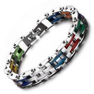 "Rainbow Steel Chain Bike Gear Bracelet - 8"" inches - LGBT Gay and Lesbian Pride Jewelry"