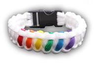 White 6 Stripe Rainbow Snap Clasp Paracord Bracelet - Gay Pride Bracelet - LGBT Lesbian Pride Wristband