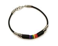 Sweet Style Gay Pride RainbowBlack Bead Wristlet Bracelet  - Gay & Lesbian LGBT Pride