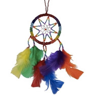 Lesbian and Gay Pride Rainbow Dream Catcher 3 1/4 Inch Beaded Dream Catcher. Great for cars, windows, rooms and more.