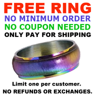 1 FREE Rainbow Ring (Only pay for shipping) LIMIT ONE PER CUSTOMER ONLY - No Minimum Order Required - No Coupon Code Needed! While Supplies Last! NO Refunds or exchanges allowed.