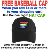 FREE hat with over $100 - Use coupon code HATCAP - Black Rainbow Squiggle Baseball Cap - LGBT Gay and Lesbian Pride Hat
