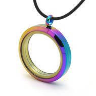 Anodized Rainbow Locket Glass Pendant - For Floating Charms or Photographs, etc. Gay and Lesbian LGBT Necklace Jewelry