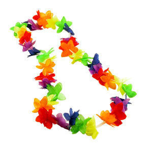 Image of 20 Bulk Pack - Rainbow Flower Hawaiian Leis - LGBT Gay and Lesbian Pride Party and Parade Accessory