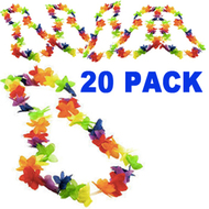 20 Bulk Pack - Rainbow Flower Hawaiian Leis - LGBT Gay and Lesbian Pride Party and Parade Accessory