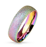 Rainbow Anodized Glitter Ring - Gay & Lesbian Pride Stainless Steel Ring