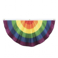 Large 4 Foot Single Bunt - Rainbow Gay Pride Flag Fabric Bunting Home or Party Banner - LGBT Gay and Lesbian Pride Party Supplies / Home Decor
