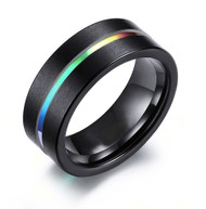 Rainbow Anodized Black Tungsten Carbide Steel Ring - Gay and Lesbian LGBT Pride Wedding Engagement Rings