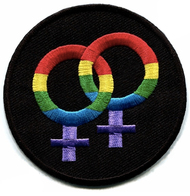 Black and Rainbow Round Double Female Lesbian Patch - LGBT Lesbian - Apparel Accessories