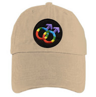 Tan Baseball Cap with Rainbow Double Mars Gay Male Symbols  - LGBT Gay Men's Pride Hat. Gay Pride Clothing & Apparel