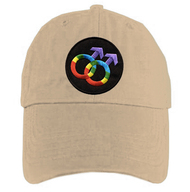 Tan Baseball Cap with Rainbow Double Mars Gay Male Symbols  - LGBT Gay Men's Pride Hat. Gay Pride Clothing & Apparel