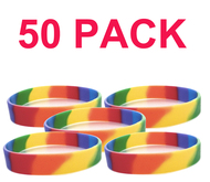 50 Pack - Rainbow Dip Silicone Bracelet Wristlet - LGBT Wristband w/ Lesbian / Gay Pride Flag Colors. Bulk Pack