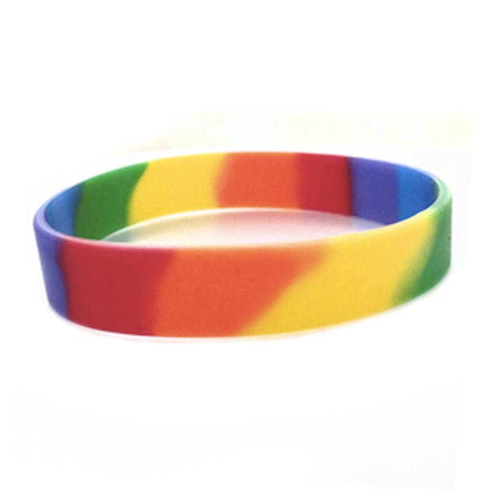 Image of 100 Pack - Rainbow Dip Silicone Bracelet Wristlet - LGBT Wristband w/ Lesbian / Gay Pride Flag Colors. Bulk Pack