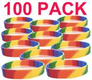 100 Pack - Rainbow Dip Silicone Bracelet Wristlet - LGBT Wristband w/ Lesbian / Gay Pride Flag Colors. Bulk Pack