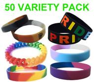 50 Pack - Various Bracelet Wristlet - LGBT Wristbands (Random Styles). Bulk Pack