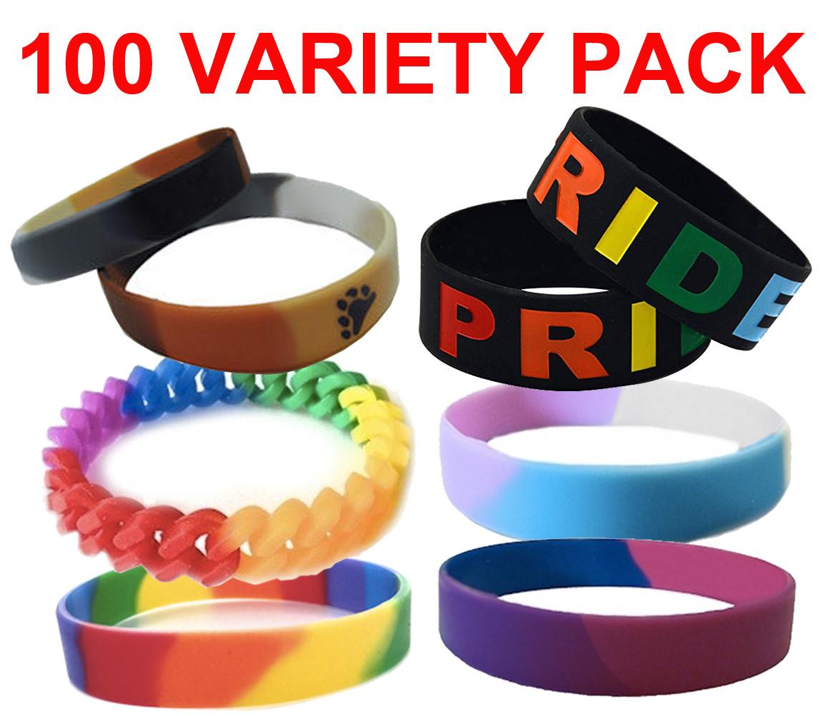 Image of 100 Pack - Various Bracelet Wristlet - LGBT Wristbands (Random Styles). Bulk Pack