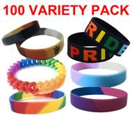 100 Pack - Various Bracelet Wristlet - LGBT Wristbands (Random Styles). Bulk Pack