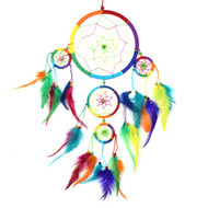 Extra Large - Lesbian and Gay Pride Rainbow Dream Catcher (6 Inch Top Loop) Dream Catcher. Great for homes, windows, rooms and more.