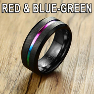 Red and Blue-Green Tone Anodized Black Tungsten Carbide Steel Ring - Wedding Engagement Rings