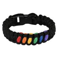 Black 6 Stripe Rainbow Snap Clasp Paracord Bracelet - Gay Pride Bracelet - LGBT Lesbian Pride Wristband