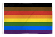 Black and Brown Representation Rainbow Flag - 3x5 - Philly Poly Flag - LGBT - Lesbian / Gay Pride Parade