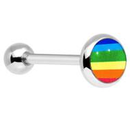 Standard Gay Pride Flag Rainbow Barbell Tongue Ring. Gay & Lesbian Body Jewelry