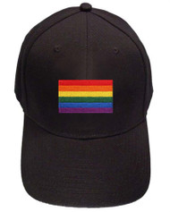 Black Baseball Cap with Standard LGBTQ Rainbow Flag Pride Hat. Gay and Lesbian Pride Clothing & Apparel