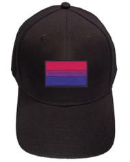 Black Baseball Cap with Standard Bisexual Pride Flag. Bi Pride Hat. Bi-Sexual Pride Clothing & Apparel