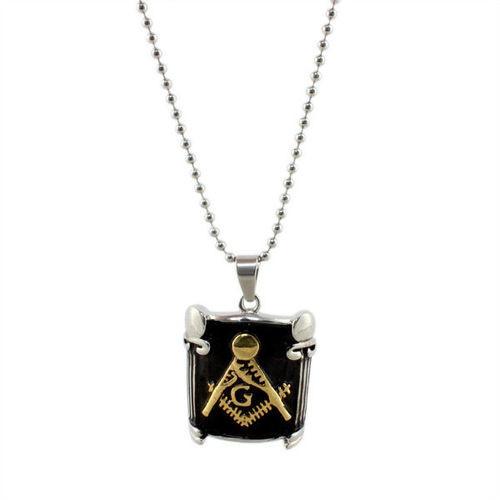 Freemason Pendant / Masonic Necklace - Black and Gold Pillar Face Mason Jewelry