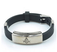 Freemason / Masonic Bracelet - Watch Style Black Rubber Mason Jewelry