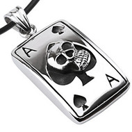 """Ace of Spades Skull Dog Tag- Stainless Steel with 18"""" PVC Rope"""