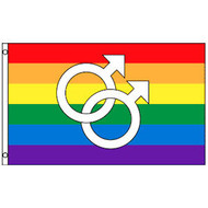 Rainbow Flag / Gay Pride Flag (Double Male Mars Symbols) - 3 x 5 Polyester Gay Flag